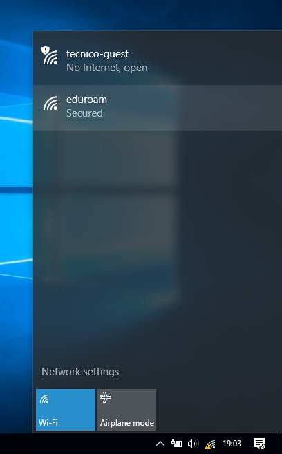 Select eduroam option
