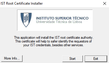 Click Start to install the certificate of Instituto Superior Tecnico