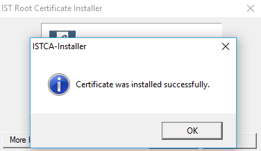 The certificate is installed. Click OK