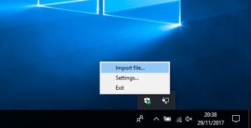 clicar em Import file